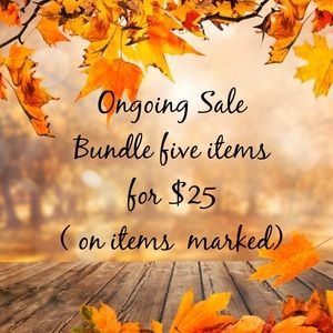 (5 for $25) on items marked